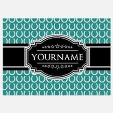 Teal and Black Horseshoe Personaliz Invitations