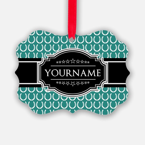 Teal and Black Horseshoe Personal Ornament