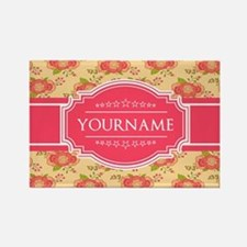 Personalized Name Gift Floral Pat Rectangle Magnet