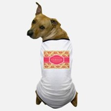 Personalized Name Gift Floral Pattern Dog T-Shirt
