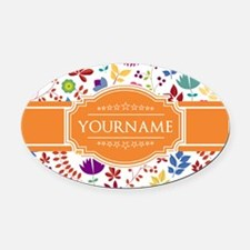 Personalized Name Monogram Floral Oval Car Magnet