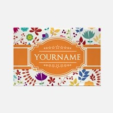 Personalized Name Monogram Floral Rectangle Magnet