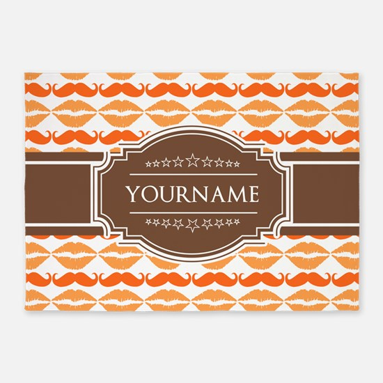 Personalized Name Mustache 5'x7'Area Rug