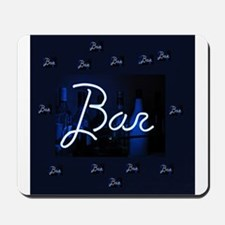 bar sign neon blue party sign Mousepad