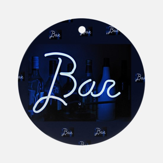 bar sign neon blue party sign Round Ornament