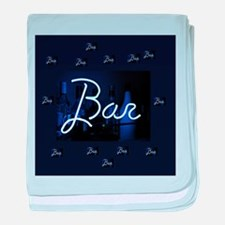 bar sign neon blue party sign baby blanket