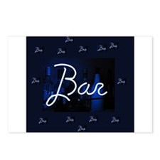 bar sign neon blue party Postcards (Package of 8)