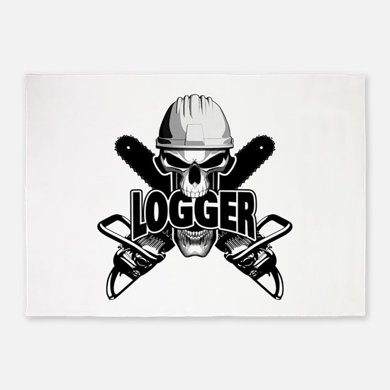 Logger Skull: Crossed Chainsaws 5'x7'Area Rug
