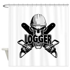 Logger Skull: Crossed Chainsaws Shower Curtain
