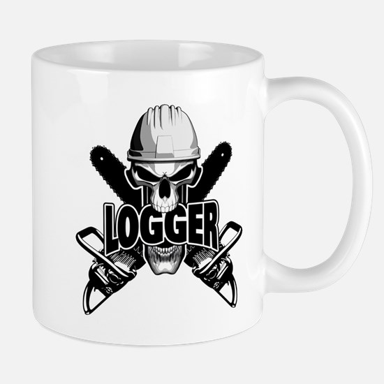 Logger Skull: Crossed Chainsaws Mugs