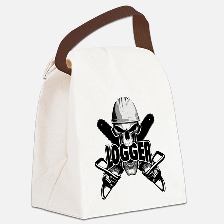 Logger Skull: Crossed Chainsaws Canvas Lunch Bag