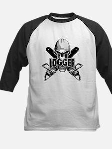 Logger Skull: Crossed Chainsaws Baseball Jersey