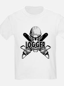 Logger Skull: Crossed Chainsaws T-Shirt