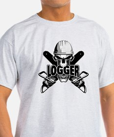 Logger Skull: Crossed Chainsaws T-Shirt