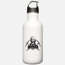 Coal Miner Skull and Crossed Pickaxes Water Bottle