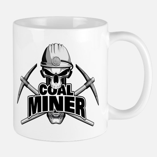 Coal Miner Skull and Crossed Pickaxes Mugs