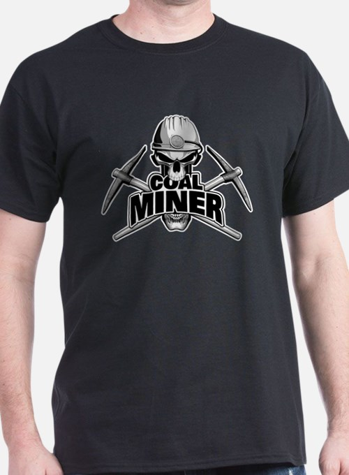 Coal Miner Skull and Crossed Pickaxes T-Shirt