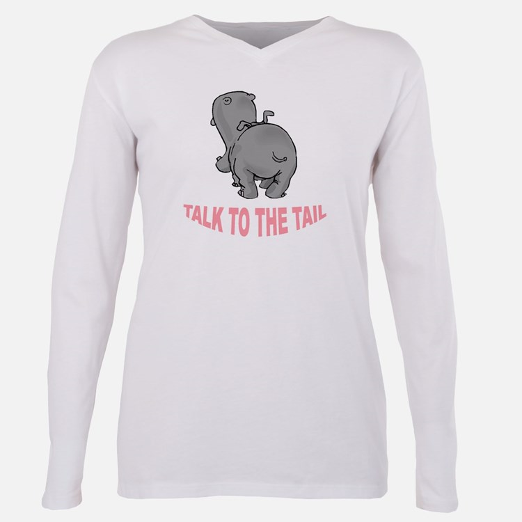 Hippo Talk To The Tail Plus Size Long Sleeve Tee