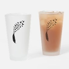 Black feather with birds Drinking Glass