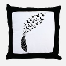 Black feather with birds Throw Pillow