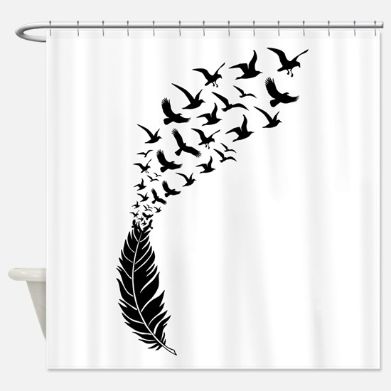 Black feather with birds Shower Curtain