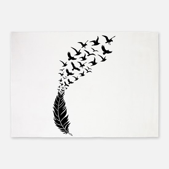 Black feather with birds 5'x7'Area Rug
