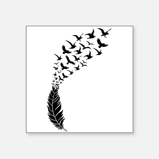 Black feather with birds Sticker