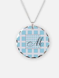 Blue Squares Monogram Necklace
