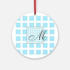 Blue Squares Monogram Ornament (Round)