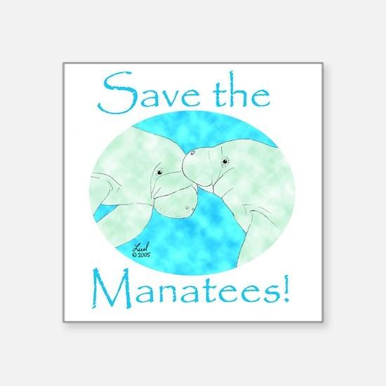 "Cute Manatee Square Sticker 3"" x 3"""
