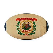 West Virginia State Flag VINTAGE Oval Car Magnet