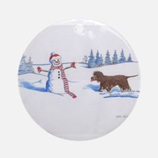 IWS and Snowman #5 Round Ornament