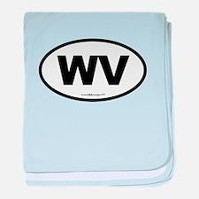 West Virginia WV Euro Oval baby blanket