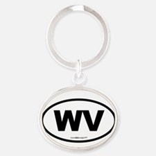 West Virginia WV Euro Oval Oval Keychain