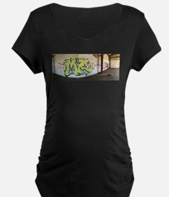 Green Graffiti Maternity T-Shirt