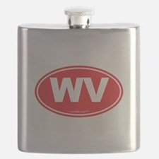 West Virginia WV Euro Oval Flask