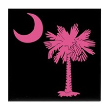Pink and Black South Carolina Flag Tile Coaster