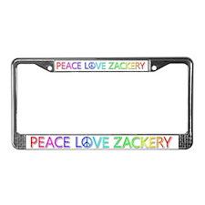 Peace Love Zackery License Plate Frame