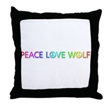 Peace Love Wolf Throw Pillow
