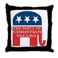 GOP Christian Values Throw Pillow