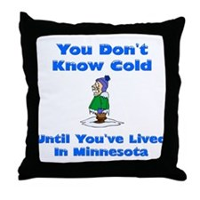 Cute Snow shoveling Throw Pillow