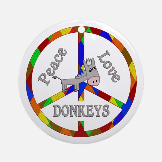 Peace Love Donkeys Round Ornament
