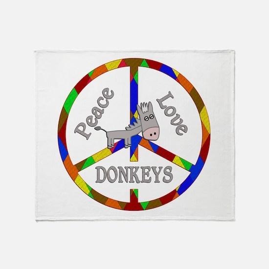 Peace Love Donkeys Throw Blanket