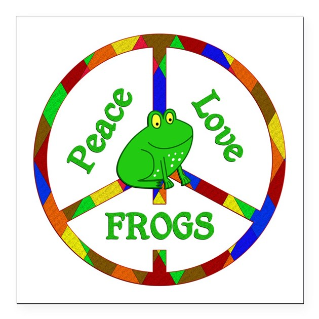 Peace love frogs square car magnet 3 quot x 3 quot by feelgoodgifts