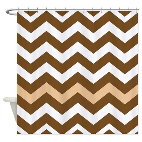 With A Tan Trim Shower Curtain By Chevroncitypart2