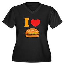 I Love Chees Women's Plus Size V-Neck Dark T-Shirt