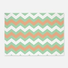 Soft Green and Peach Zigzags 5'x7'Area Rug