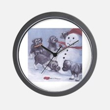 Cute Standard schnauzer christmas Wall Clock