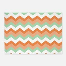 Soft Green and Peachy Coral Zigzags 5'x7'Area Rug