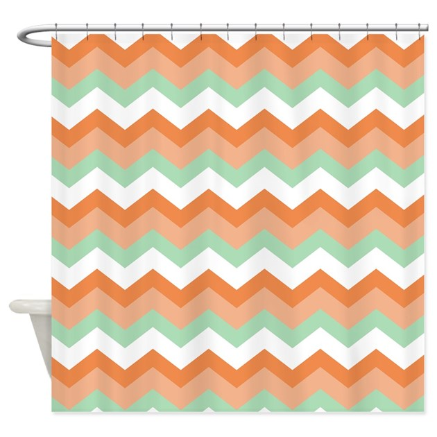 soft green and peachy coral zigzags shower curtain by